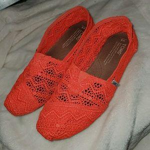 TOMS Coral Crochet Lace Alpargata Espadrilles Flat